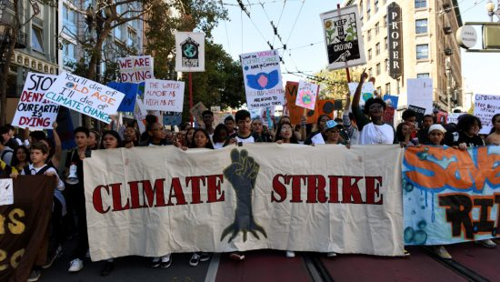 Young people protest during a Climate Strike march in San